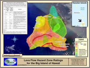 Lava Flow Hazard Zone Ratings map for the Big Island of Hawaii